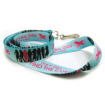 Breast Cancer Awareness Digitally Sublimated Lanyard w/Next Day Service