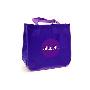Large laminated Grocery Tote with heat transfer logo