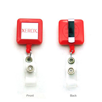 4-Color Process Square Plastic Badge Reel w/ Next Day Service