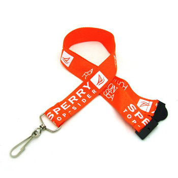 "1"" Silkscreened Flat Lanyard w/ Sew on Breakaway"