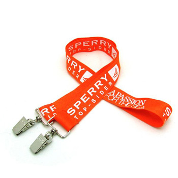 "1"" Silkscreened Flat Lanyard w/ Double Standard Attachment"